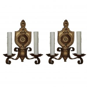 Pair of Antique Cast Brass Spanish Revival Sconces, c.1920-0