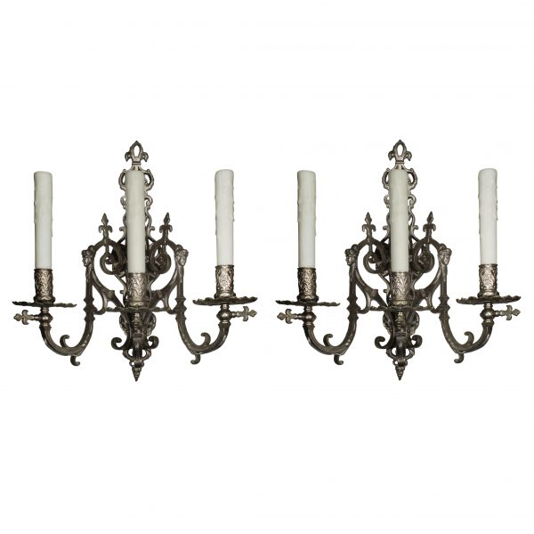 Antique French Figural Nickel-Plated Sconces, 19th century -0