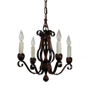 Antique Four-Light Chandelier in Iron-0