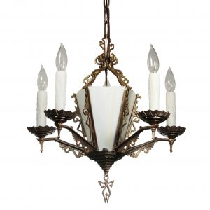 Art Deco Chandelier in Brass, Antique Lighting-0
