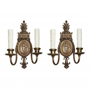Pair of Antique Neoclassical Figural Sconces -0