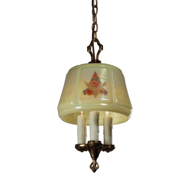 Antique Three-Light Chandelier with Iridescent Glass Shade-0