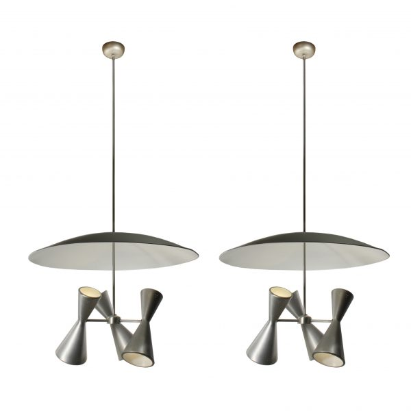 Substantial Mid-century Modern Lighting with Reflectors-0