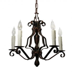 Tudor Five-Light Chandelier in Iron, Antique Lighting-0