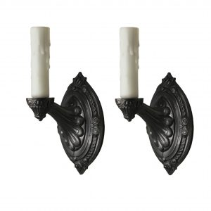 Antique Pair of Neoclassical Single-Arm Sconces, Pewter-0