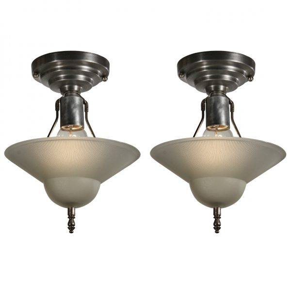 Vintage Flush Mount Light Fixtures with Original Glass Shades, c.1940-0