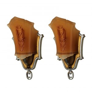 Pair of Art Deco Slip Shade Sconces, Antique Lighting -0