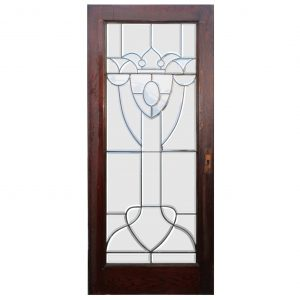 "Salvaged 36"" Beveled and Leaded Glass Oak Door-0"