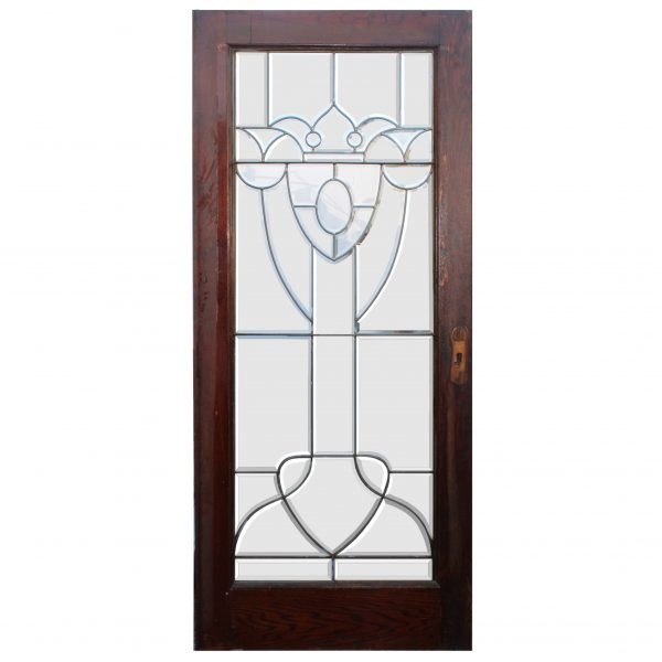 """Salvaged 36"""" Beveled and Leaded Glass Oak Door-0"""