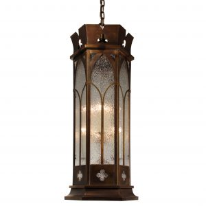 Gothic Revival Pendant Light with Granite Glass, Antique Lighting-0