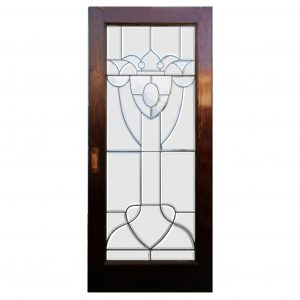 "Reclaimed 36"" Beveled and Leaded Glass Oak Door-0"