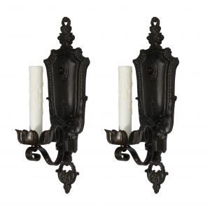Pair of Antique Cast Iron Spanish Revival Sconces-0