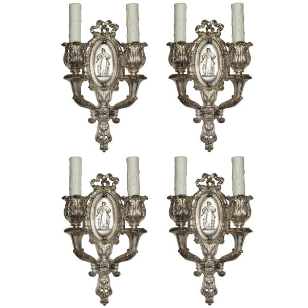 Pairs of Antique Neoclassical Figural Sconces by Baldinger-0