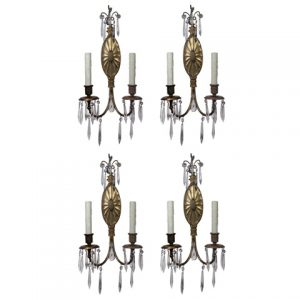 Matching Pairs of Antique Sconces with Prisms, R.P. & Co.-0