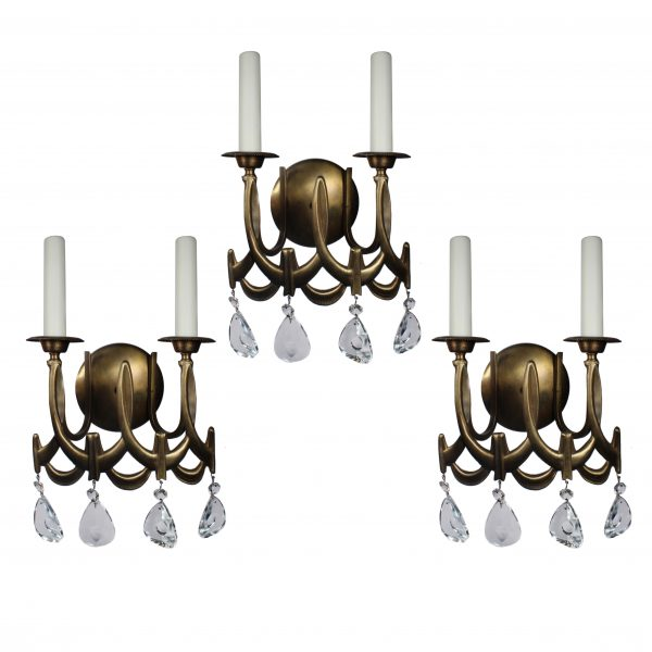 Matching Vintage Double Arm Sconces with Prisms-0
