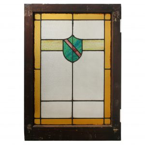 American Arts & Crafts Stained Glass Windows with Shield-0