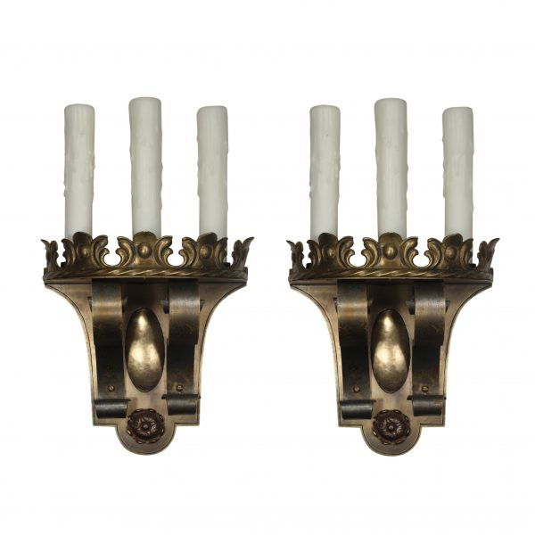 Antique Spanish Revival Three-Light Sconce Pair, c.1920-0