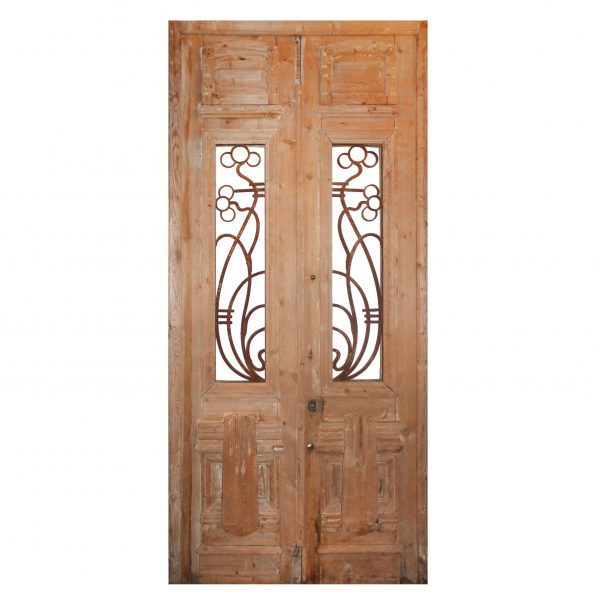 """Reclaimed Pair of Antique French Colonial 43"""" Door Pair with Iron Inserts-0"""