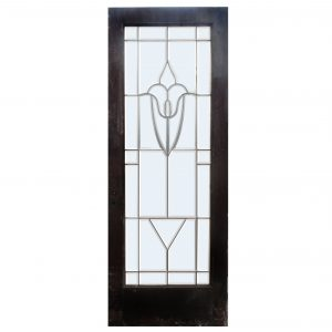 "Antique 30"" Salvaged Door with Leaded and Beveled Glass-0"