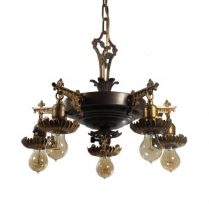 Antique Five Light Two-Tone Chandelier, c. 1930-0