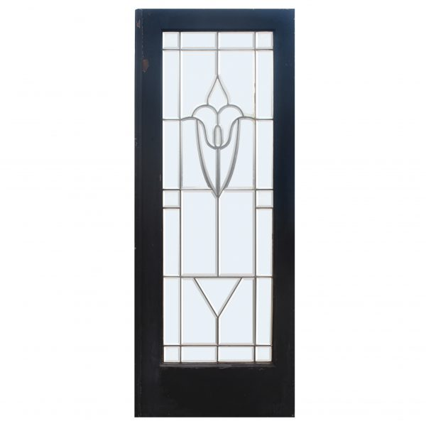 """Antique 30"""" Salvaged Door with Leaded and Beveled Glass-0"""
