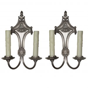 Pair of Antique Double-Arm Georgian Sconces, Silver Plated-0