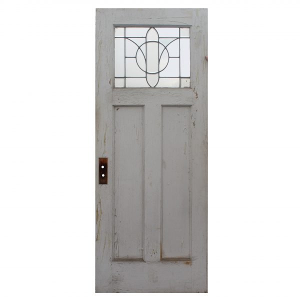"Salvaged 32"" Door with Leaded and Beveled Glass Window-0"