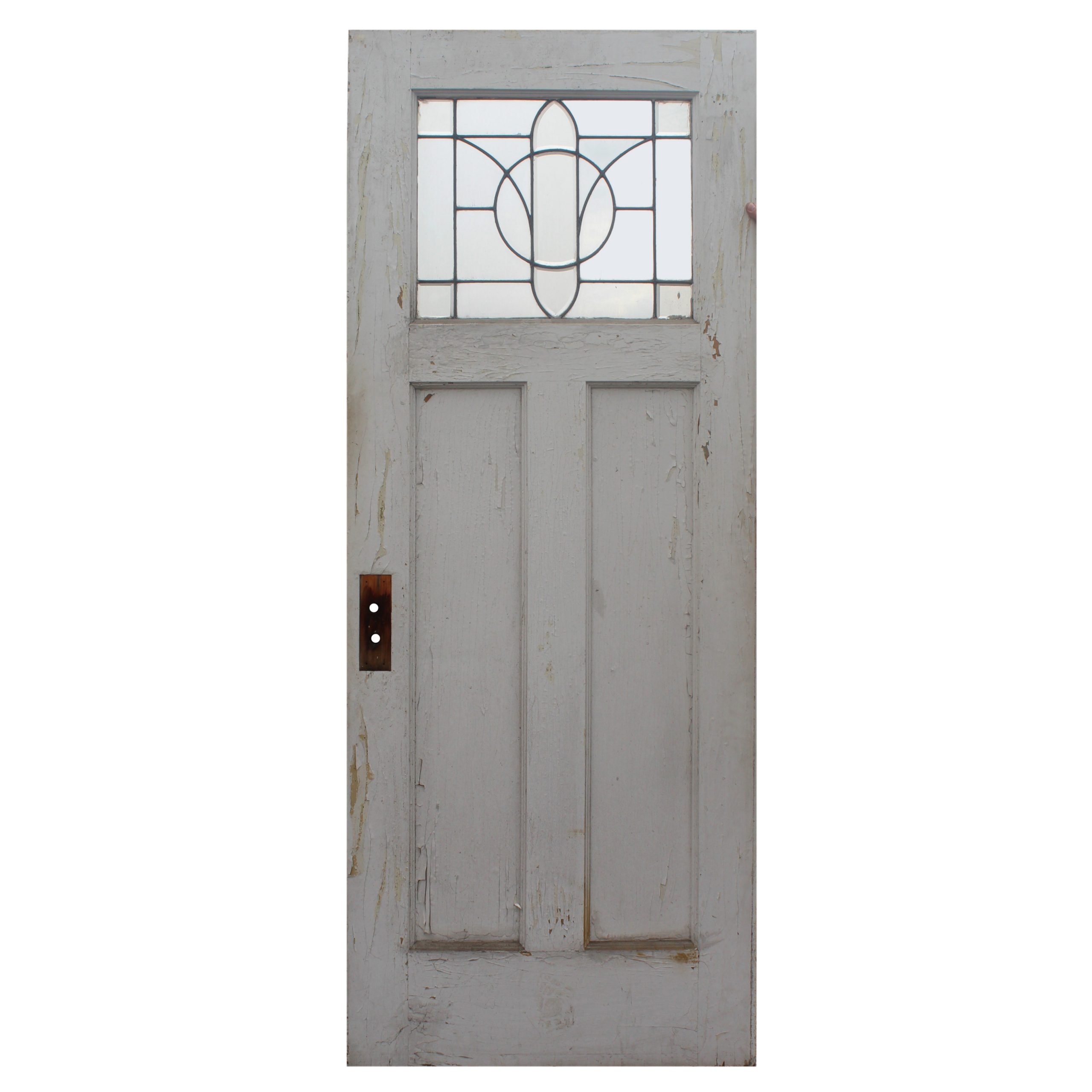 Salvaged 32 Door With Leaded And Beveled Glass Window