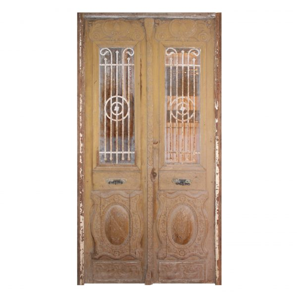 """Reclaimed Pair of Antique French Colonial 54"""" Doors with Iron Inserts-0"""