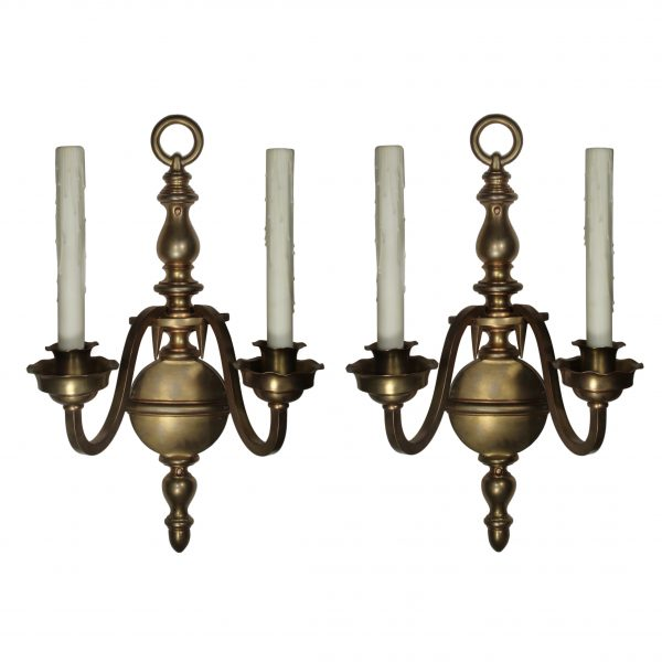 Large Pair of Antique Cast Bronze Sconces-0