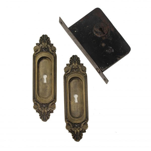 """Complete Antique Brass """"Olympus"""" Pocket Door Hardware Set by Russell & Erwin-0"""