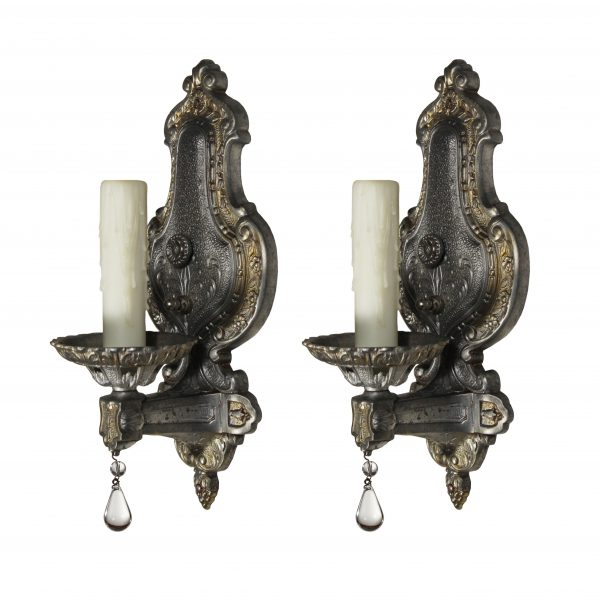 Antique Neoclassical Sconce Pair, Signed Champion Lighting-0