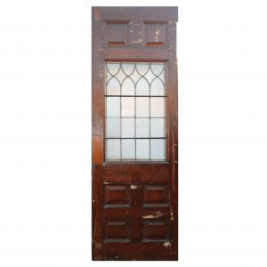 "Salvaged 30"" Door with Leaded and Ribbed Glass, Oak-0"