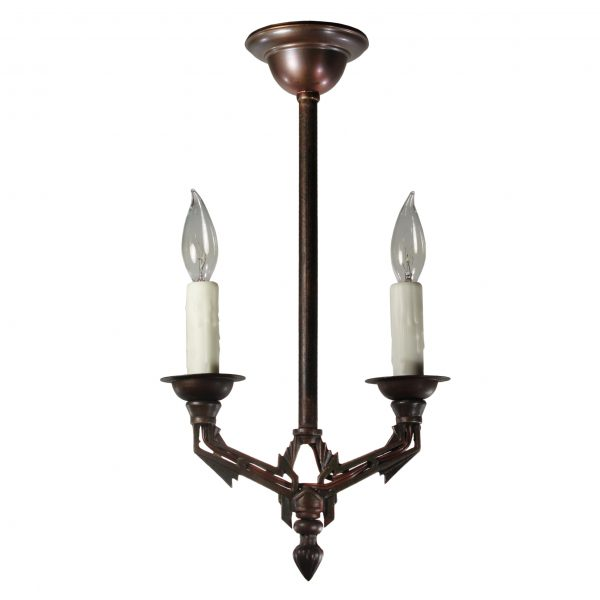 Art Deco Two-Light Chandelier, Antique Lighting-0