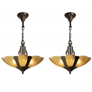 Antique Art Deco Slip Shade Chandeliers -0