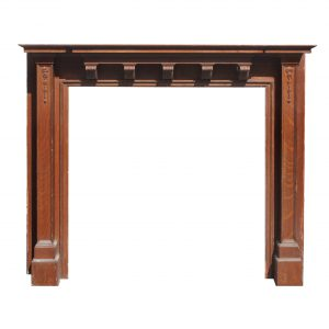 Antique Oak Fireplace Mantel, c. 1910-0