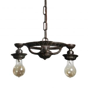 Antique Cast Iron Two-Light Chandelier, c. 1930-0