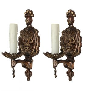 Pair of Antique Cast Iron Figural Sconces by Champion Lighting-0