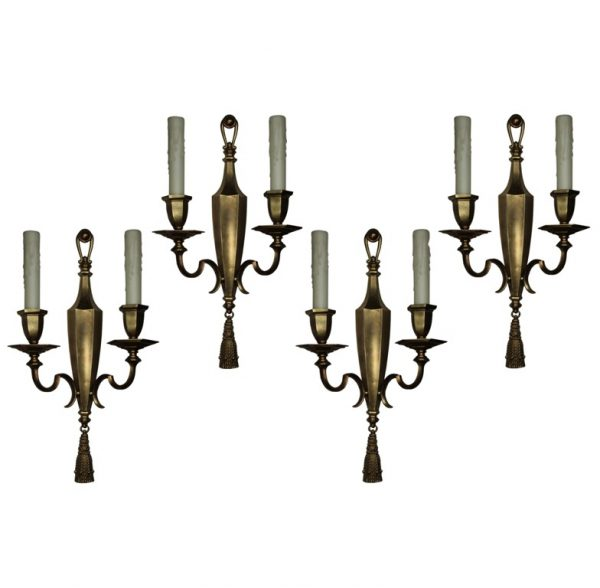 Exceptional Pairs of Antique Double-Arm Sconces, Signed E. F. Caldwell-0