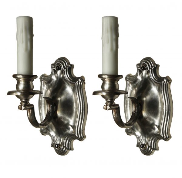Antique Pair of Neoclassical Single-Arm Sconces, Silver-Plated-0