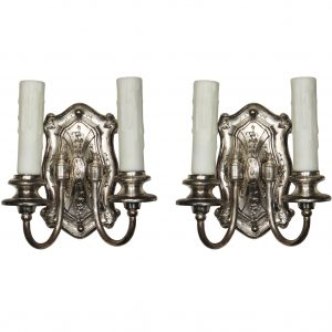 Pair of Antique Silver Plated Double-Arm Sconces, c. 1910-0