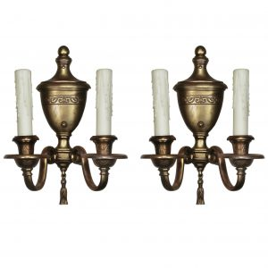 Pair of Antique Bronze Adam Style Double-Arm Sconces-0