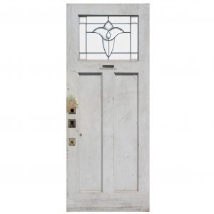 "Salvaged 34"" Door with Leaded and Beveled Glass -0"