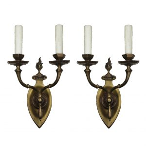 Pair of Antique Two Arm Brass Sconces, E.F. Caldwell-0