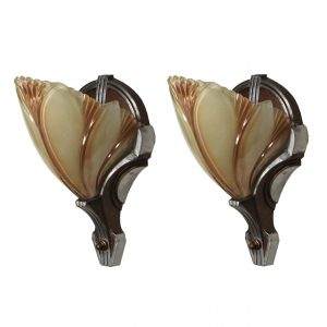 Pair of Antique Art Deco Batwing Slip Shade Sconces-0