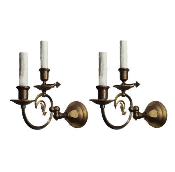 Antique Brass Gas & Electric Sconce Pair, 19th Century-0