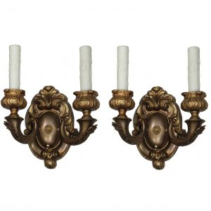 Pair of Antique Neoclassical Double-Arm Sconces in Brass-0