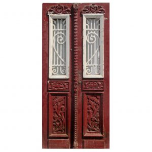 "Reclaimed Pair of 39"" French Colonial Doors with Iron Inserts-0"
