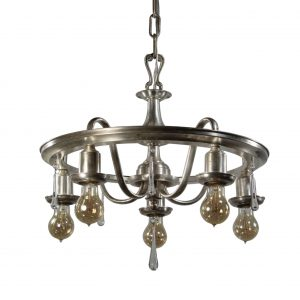 Neoclassical Silverplate Chandelier with Prisms, Antique Lighting-0
