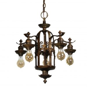 Antique Spanish Revival Five-Light Bronze Chandelier, Early 1900s-0